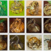 Onions (1994/95), 22 x 22 cm each, oil and acrylic on Masonite, inv. PH253C
