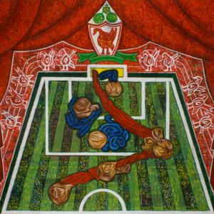 01/05/2007: Liverpool-Chelsea 1-0 il gol decisivo di Agger (2008), 159,5 x 235 cm, acrylic on newspaper, inv. PH428E