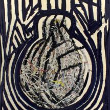 Senza titolo (2013), 100 x 80 cm, acrylic and newspaper on canvas, inv. PH447