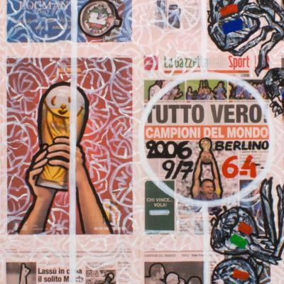 Calcio circo (2006), 159 x 196 cm, acrylic on newspaper, inv. PH581C