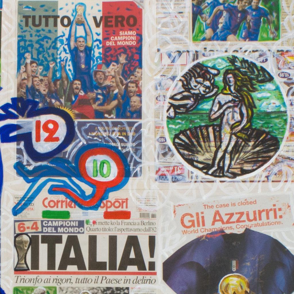 6-4 Campioni del Mondo! (2006), 158 x 187 cm, acrylic on newspaper, inv. PH581E