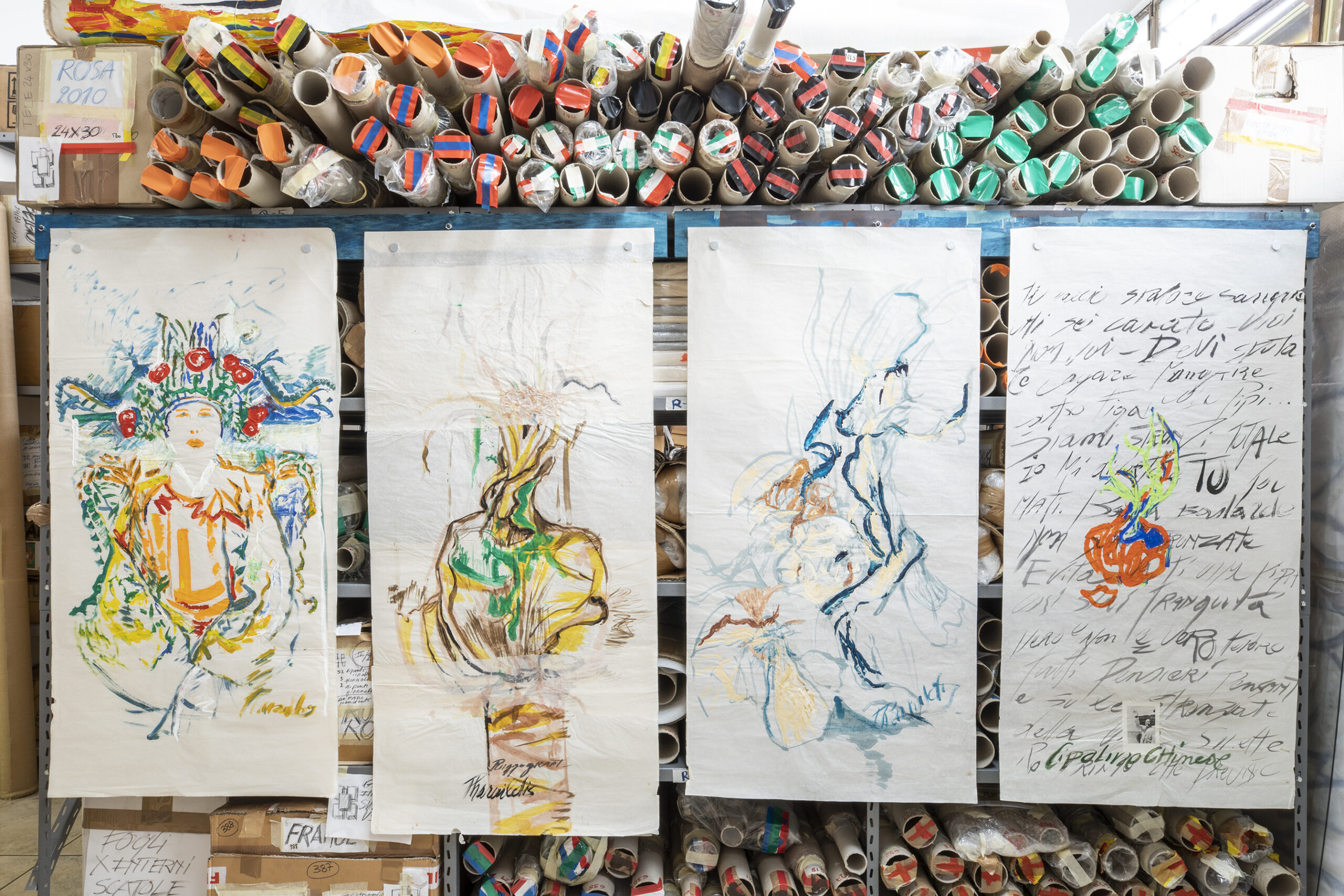 Installation view of China's series (1996/97), 142 x 68 cm each, gouache on Chinese paper, inv. PH441CDEF