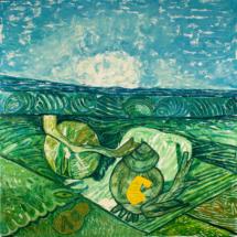 Paesaggio con cipolle (2010), 217 x 213 cm, acrylic on canvas, inv. PH064