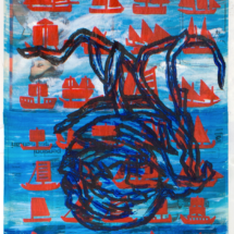 Senza titolo (2004), 107 x 75 cm, acrylic on newspaper, inv. PH075B