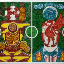 Arsenal - Liverpool (2008), 264 x 181 cm, acrylic on newspaper. inv. PH777A