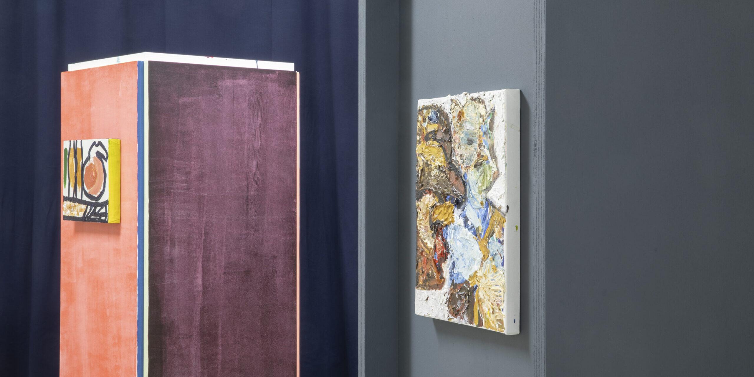 Andrea Kvas, Untitled (details) with Pharaildis Van den Broeck's painting, installation view Project Room #3, courtesy Archivio Atelier Pharaildis Van den Broeck, ph Jacopo Menzani