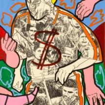 Dio Dollaro (2000), 155 x 62 cm, acrylic on paper, inv. PH805